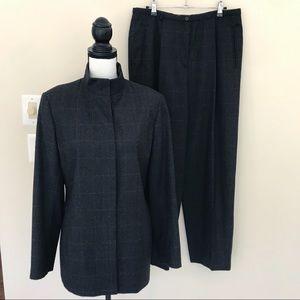 Giorgio Armani Wool Plaid Striped Pants Suit